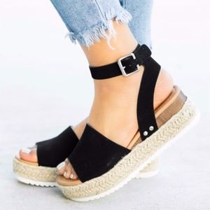 HELLO SPRING Comfy Wedges - BLACK